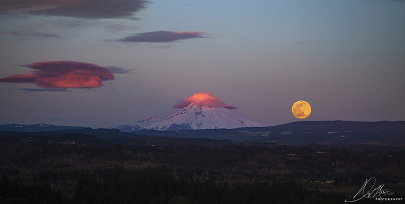 Mount Hood and The Moon Landscape Photo 24 NV Holden Photography